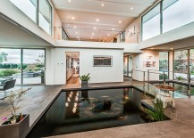 Indoor koi pond and walkway steal the show