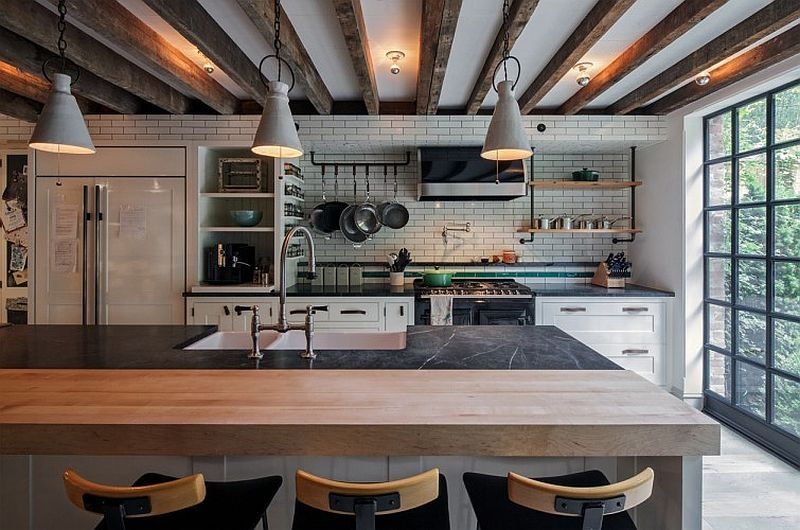 Industrial kitchen in the New York Townhouse with a modern appeal