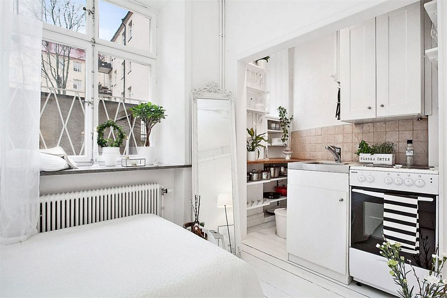 Ingenious corner kitchen makes wonderful use of small space ultra small studio apartment in stockholm
