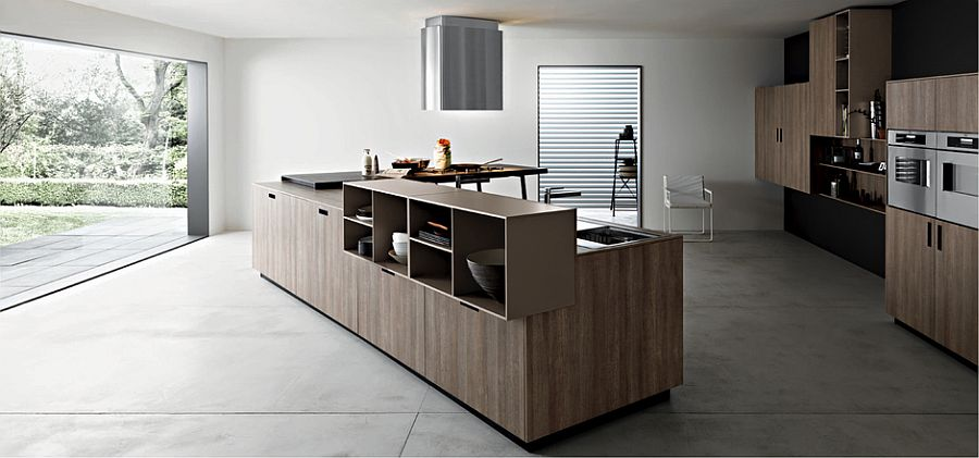 Ingenious kitchen island design in wood with an open shelf