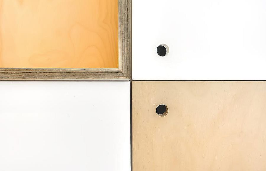 Ingenious shelf designs save up precious square footage inside the apartment