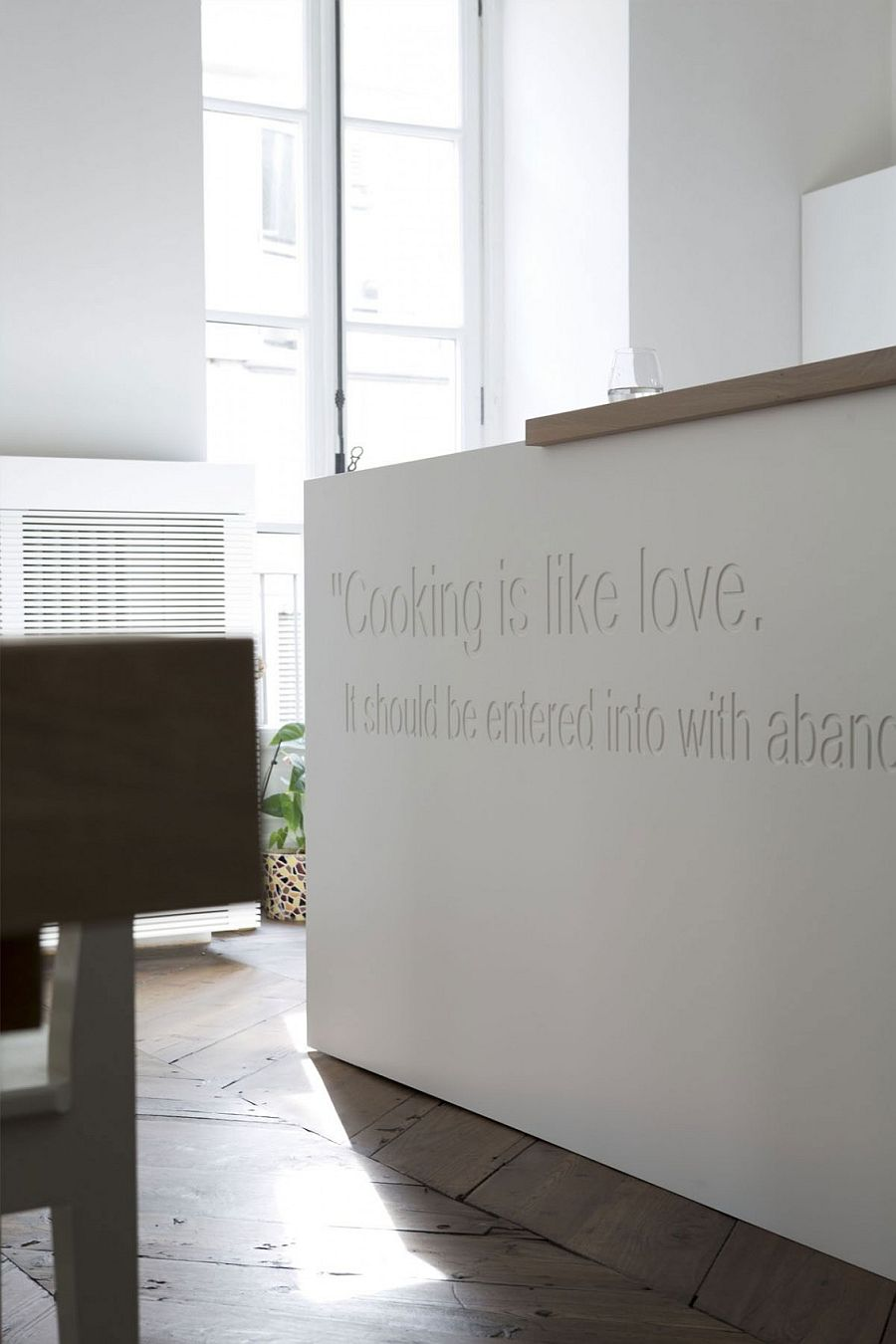 Italian Kitchen island with an etched message