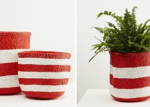 Kiondo baskets in red and white