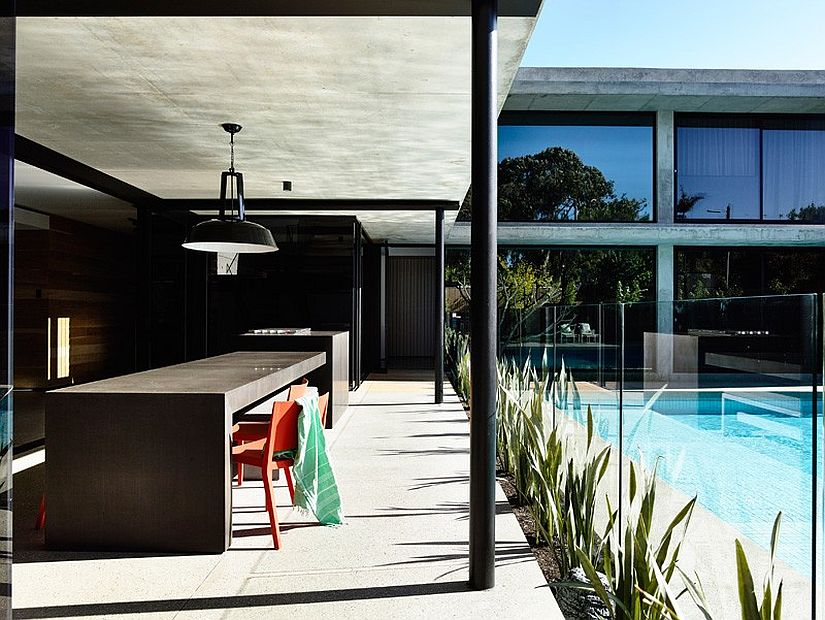 Kitchen and alfresco dining of the smart family home in Australia