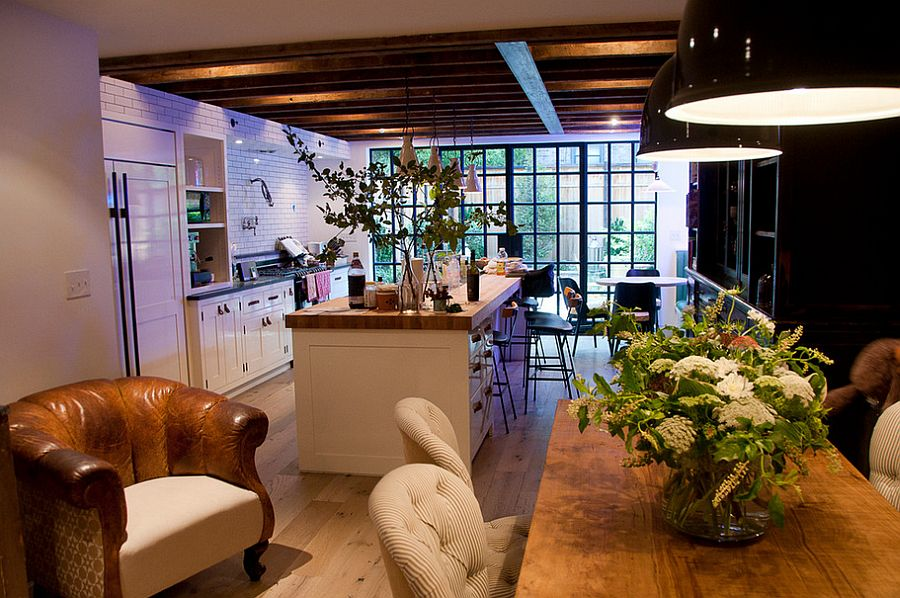Kitchen combines industrial elements with farmhouse style