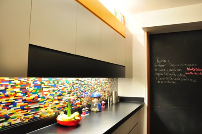 LEGO Backsplash with Chalkboard Wall