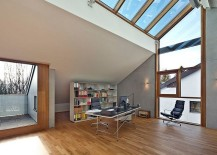 Large skylights steal the show in this home office
