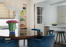Lovely use of color in the dining space