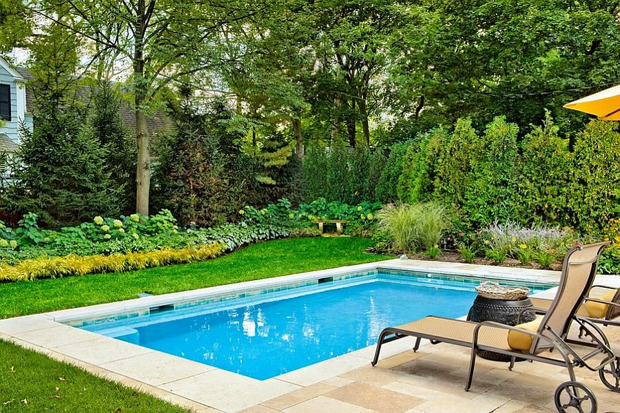 Swimming Pool Designs For Small Yards ... Lovely pool stretches across just 10 feet! [Design: Platinum Poolcare]