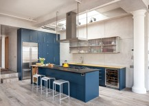 Lovely use of bright blue in the contemporary kitchen