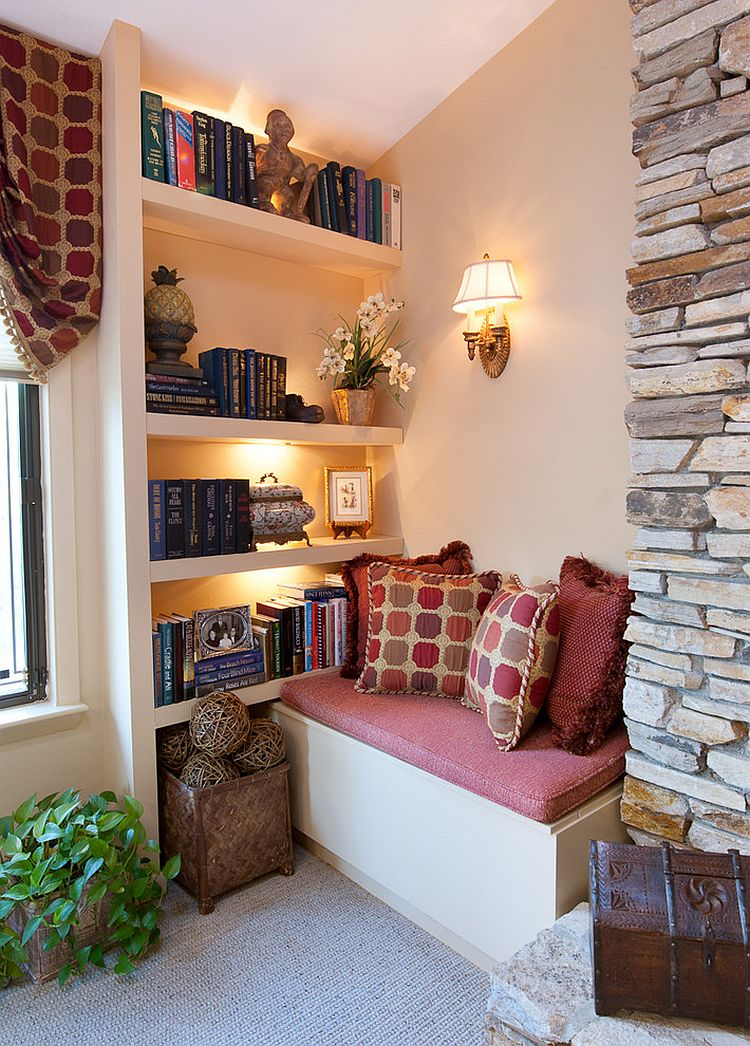 How to create a captivating and cozy reading nook - Beautiful corner fireplace design ideas for your family time ...