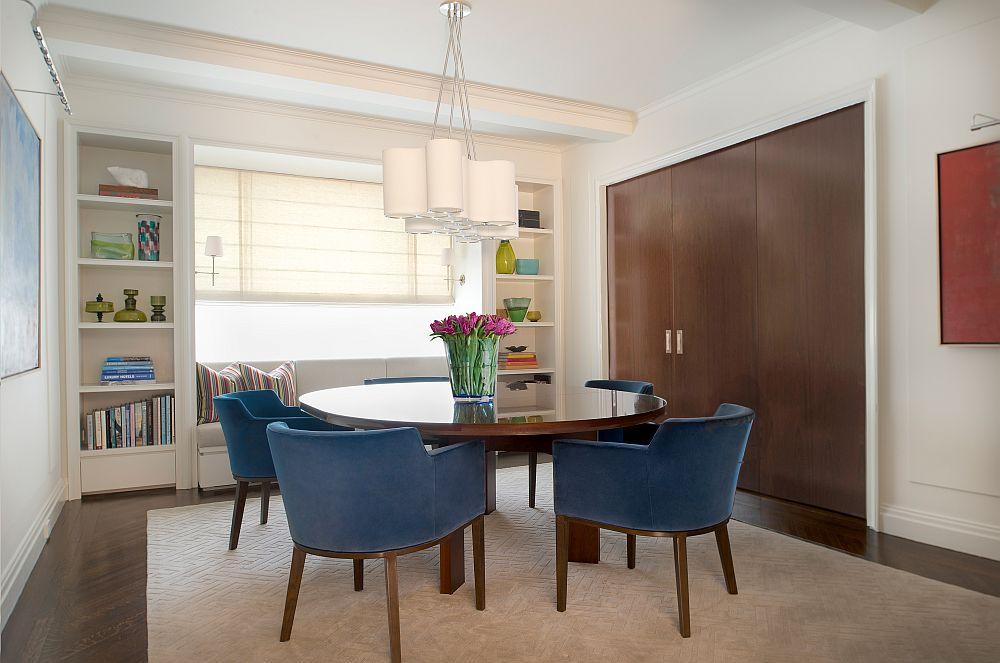 Mahogany sliding wall separates the kitchen and dining