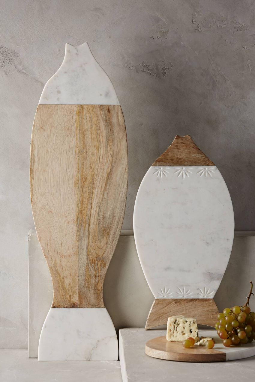 Mango wood and marble platters from Anthropologie