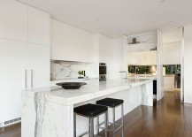Marble backsplash complements the smart island perfectly
