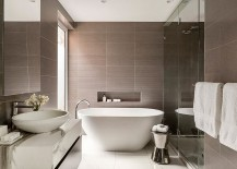Marble vanity in the bathroom adds to the opulence