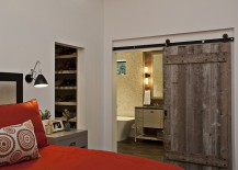 Master bedroom with barn door for the bathroom