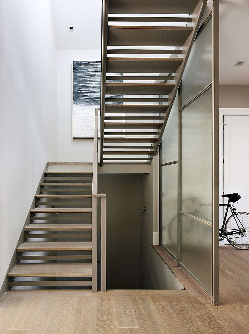 Master stairway connecting the various levels of the revamped San Francisco home