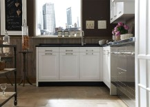 Metallic finish adds a hint of glitter to the lovely kitchen