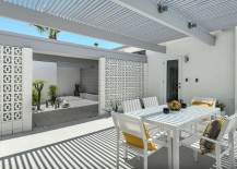 Midcentury LA outdoor dining space