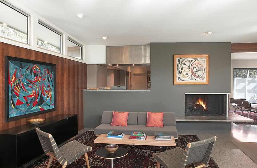 Midcentury living room with Risom chairs and the cozy Daybed [Design: Steinbomer, Bramwell & Vrazel Architects]