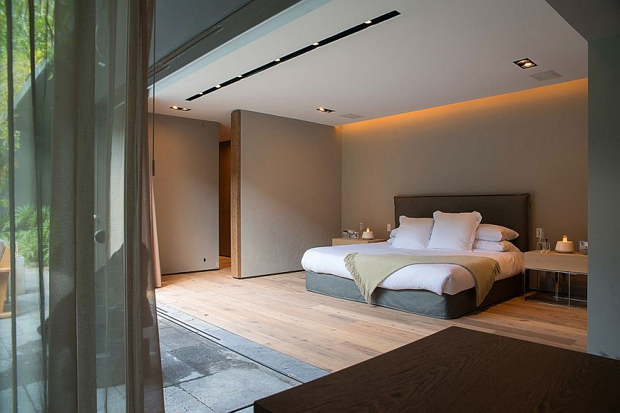 Minimal bedroom design with smart lighting