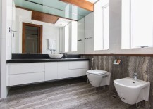 Minimal modern bathroom design with floating vanity in white
