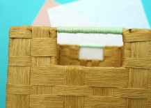 Mint yarn adds pastel style to a woven basket