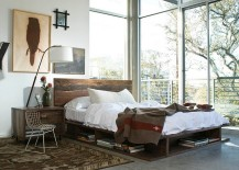 Modern industrial style bed with an uncluttered look