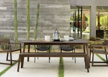Modern outdoor dining space with cactus