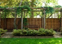 Modern pergola with seating and a gravel path 217x155 How to Style a Trellis
