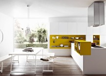 Modern yellow and white kitchen with compositional freedom from Cesar