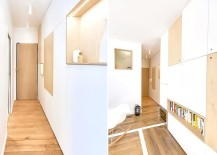 Narrow entry and sleek wall cabinets inside the apartment