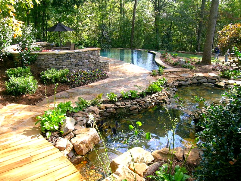 The pathway here defines the space between the two pools