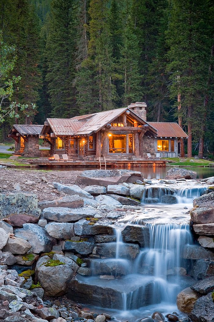 Natural pond around the cabin retreat with a magical water feature
