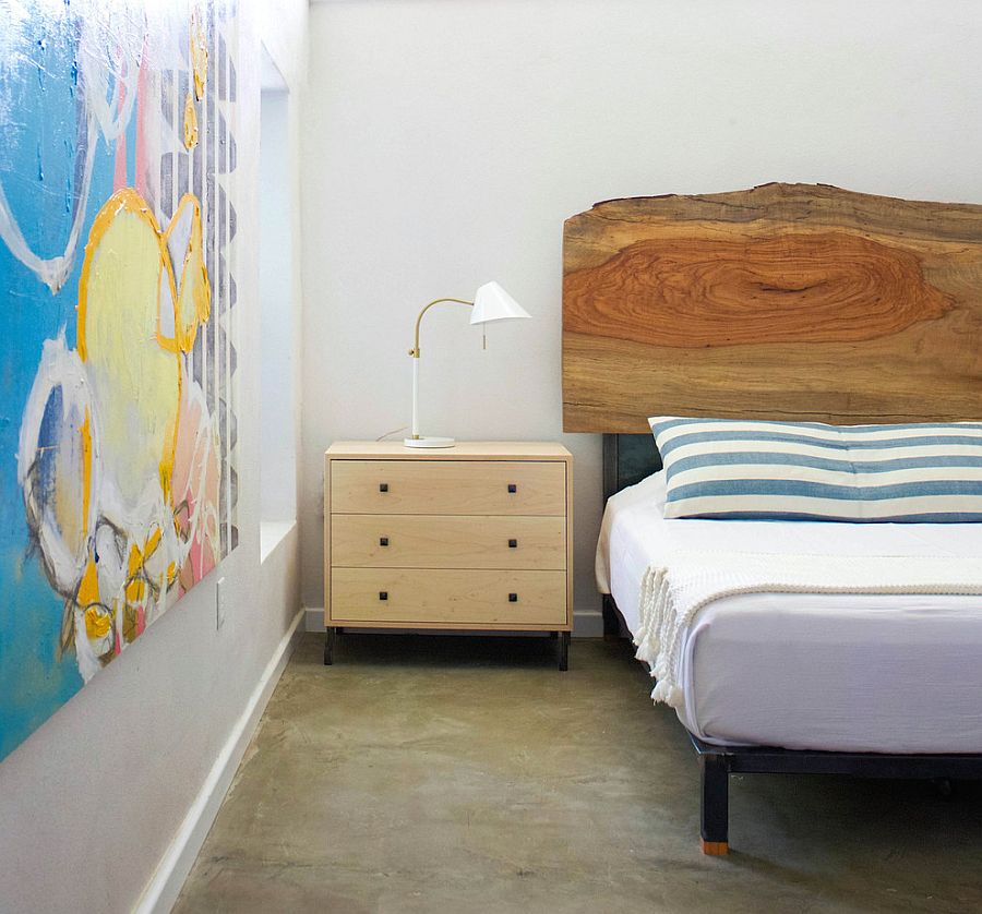 Natural wood headboard in the contemporary bedroom [Design: Sarah Stacey Interior Design]