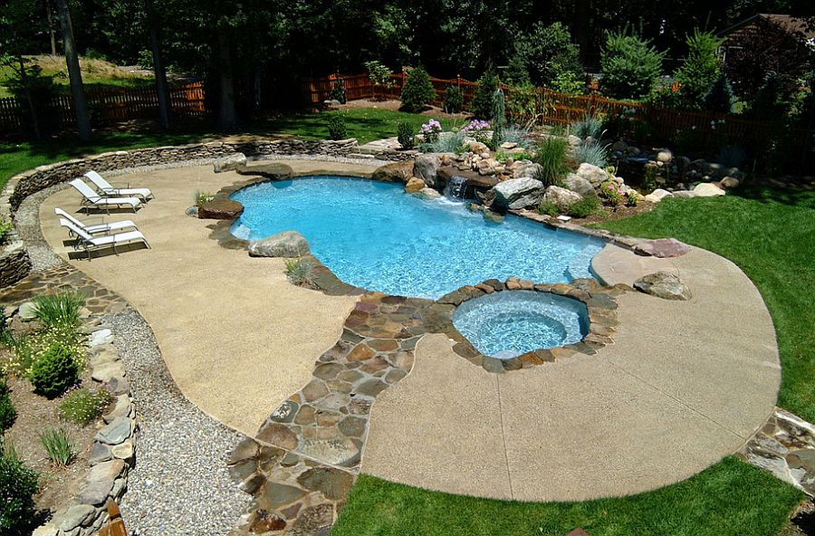 Charming ... Neat Concrete Pool Deck With A Stone Walkway [Design: Cool Pool] Regarding Concrete Pool Designs