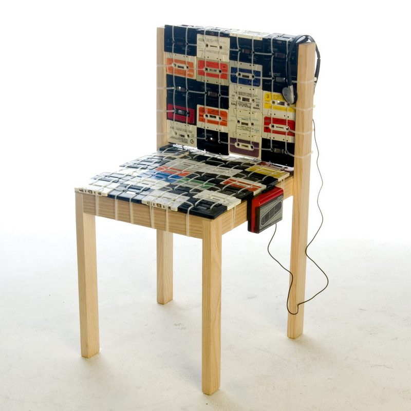 View in gallery Nostalgic Chair Made Out of Old Tapes