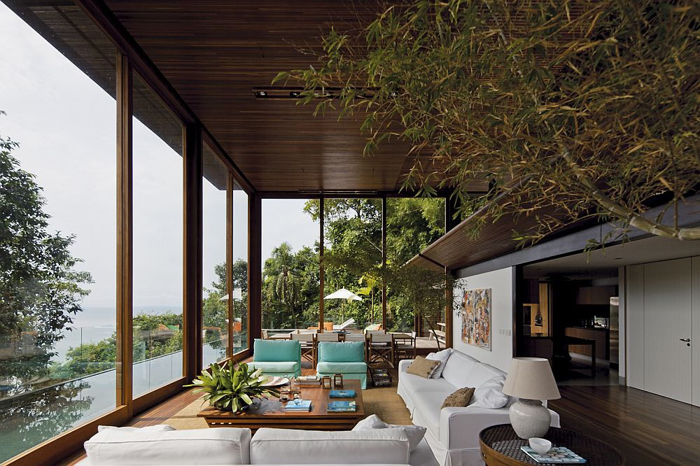 Open living level with bamboo trees indoors