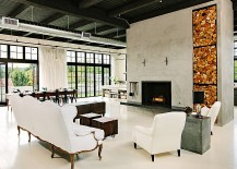 Open plan living area of the industrial home