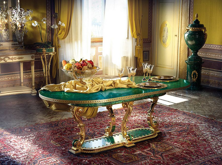 Opulenet dining room with a unique Malachite table