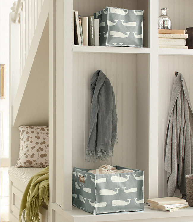 Organized entryway with storage baskets