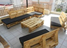 Outdoor patio furniture set crafted from pallets