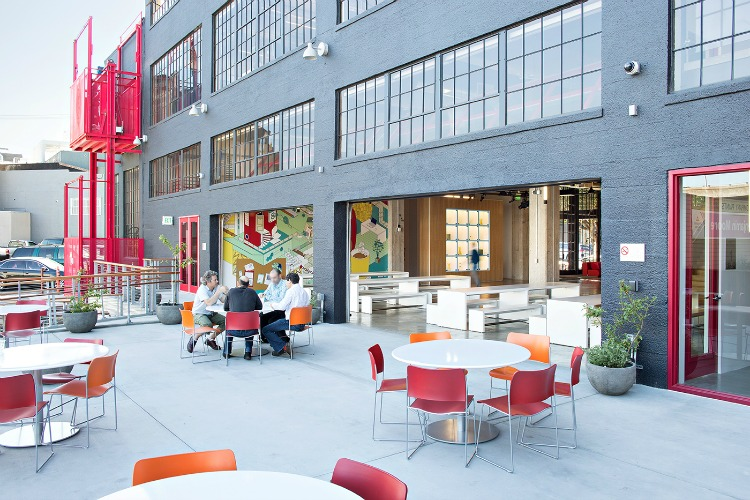 The patio enables workers to enjoy San Francisco's frequent sunny afternoons
