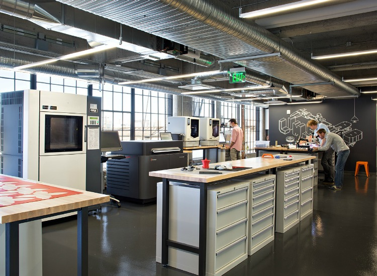 The engineering lab is light-filled and functional