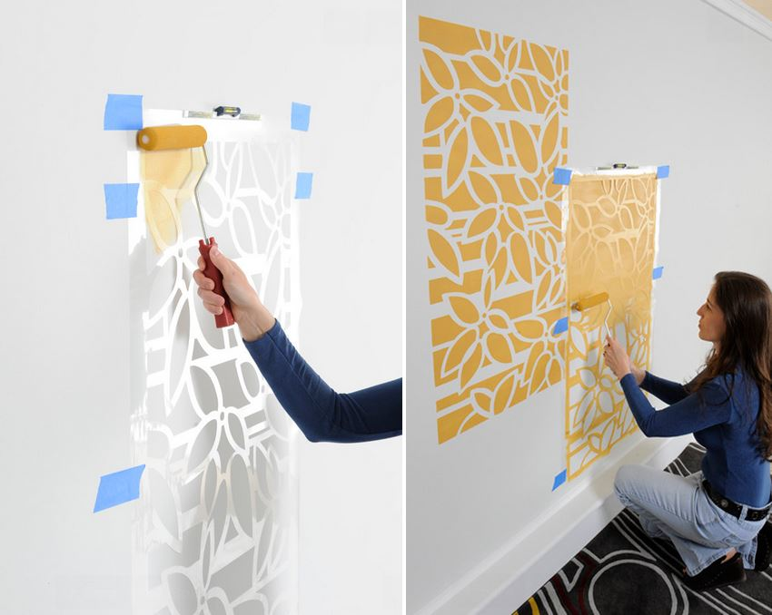 Painting a wall with the help of stencils