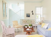 Pastel hues bring cheerful ambaince to the traditional living room