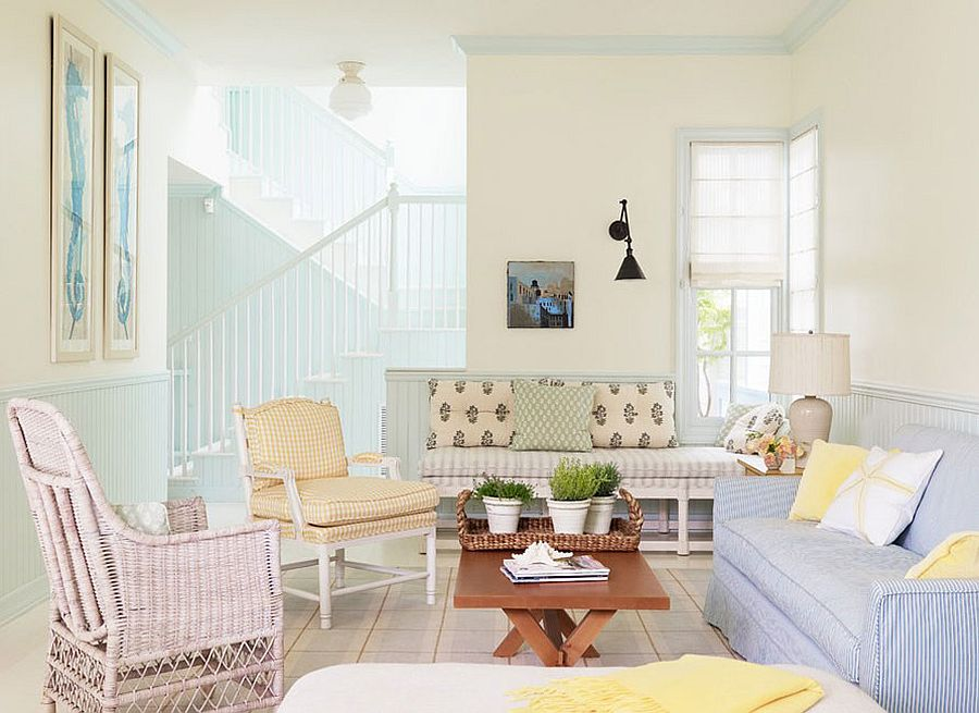 Pastel hues bring cheerful ambiance to the traditional living room [Design: Alexandra Angle Interior Design]