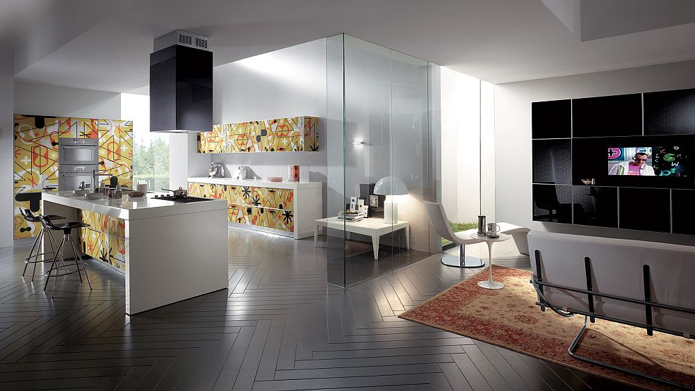 Pattern used for kitchen shelves can easily be translated to the living room