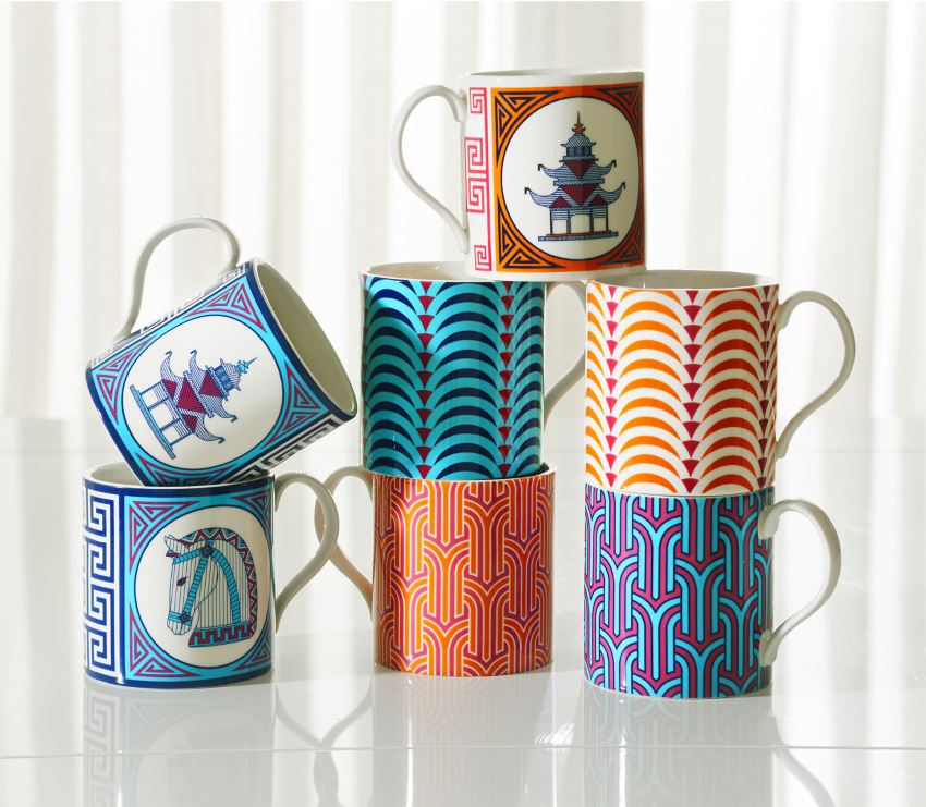 Patterned mugs by Jonathan Adler
