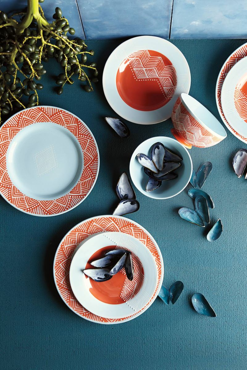 Patterned stoneware dinner plates from Anthropologie Modern Tabletop Inspiration for Entertaining